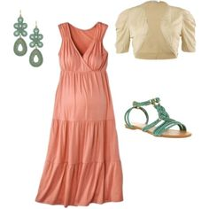 Coral Maternity Dress Set, created by kathryndeane on Polyvore