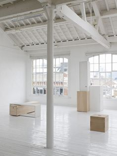 dream studio space - white, natural light, painted floors, exposed beams
