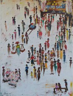 """Saatchi Art Artist Suthamma Thimkaeo; Painting, """"100 year market"""" #art"""