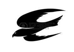 Abstract Black Illustration Of An Hawk Flying For Tattoo Or Mascot.. Royalty Free Cliparts, Vectors, And Stock Illustration. Image 25399263.
