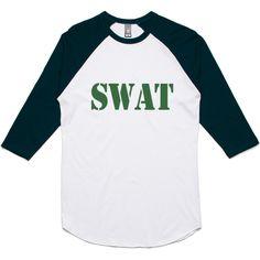 theIndie SWAT Stencil (Green) 3/4-Sleeve Raglan Baseball T-Shirt