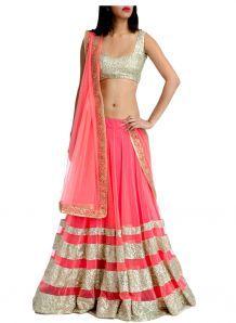 Nairiti Fashions Indian Designer Replica Pink Colour Net Farbic Party & Wedding Wear Bridal Lehenga Choli|Lehenga Choli|Ethnic Wear