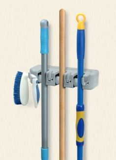 Amazon.com: Mop and Broom Wall Organiser: Home & Kitchen