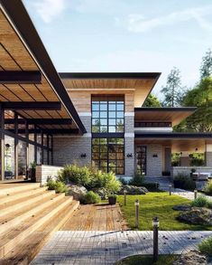 Modern architecture house design with minimalist style and luxury exterior and interior and using the perfect lighting style is inspiration for villas mansions penthouses Design Exterior, Facade Design, Modern Exterior, Exterior Rendering, Archi Design, Stone Facade, Dream House Exterior, Facade House, House Goals