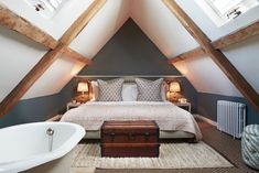 Babington House has bedrooms, lodges and cabins, and guests have access to the members' club, spa and pools. Small Loft Bedroom, Attic Master Bedroom, Attic Bedroom Designs, Bedroom With Bath, Loft Room, Upstairs Bedroom, Attic Rooms, Home Bedroom, Small Loft Spaces