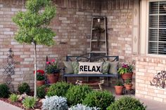 Summer Relaxing porch decor and landscaping. Tracy's Trinkets and Treasures