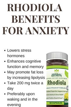 Rhodiola rosea benefits for anxiety