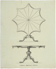 Design for a Star-shaped Tilting Pedestal Table: Two Views  Anonymous, British, 19th century   Date: ca. 1830