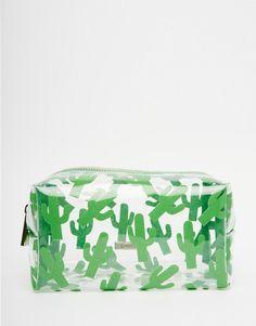 Imagen 1 de Neceser con estampado de cactus de purpurina exclusivo para ASOS de Skinnydip