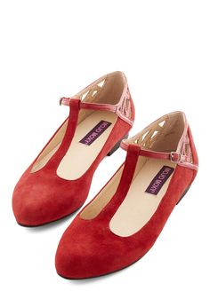 Red, White, and Blues Dance Flat. Your footsteps flawlessly follow the musics pulse in these T-strap flats from Mojo Moxy! #red #modcloth