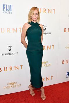 "Uma Thurman in Brandon Maxwell attends the ""Burnt"" Premiere in New York. #bestdressed"