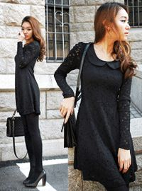 round collar long lace little black dress  CODE: QN32075  Price: SG $68.40(US $55.16)