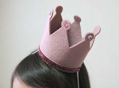Birthday hat crown, Pink Crown, Felt Crown, Headband, Pink Glitter, Photography Prop, Swarovski Crystals