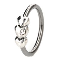 Silver & Steel Ball Closure Ring - 3 Outward Hearts-Helix Piercing