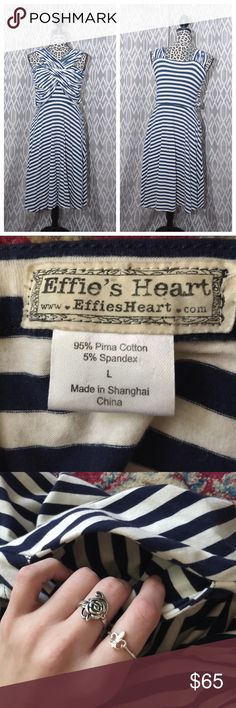 Effie's Heart Dress Large Comfortable/breathable stretchy fabric. Pockets! 👍 Ivory with navy stripe. Bodice/breast area is not fixed. After putting it on, you adjust it like you would a swimsuit for proper placement. EUC My items NEVER see the inside of a dryer. Offers accepted. Dresses