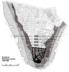 Growth of  Manhattan Island,  1650-1980