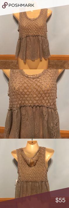 Free People Cropped Peplum Tank NWT tan textured slightly cropped Peplum style tank with keyhole back opening as pictured Free People Tops Tank Tops