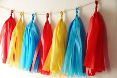 Red Blue Yellow Handmade Tissue Tassel Garland / Tassel Backdrop / Wedding  Tassel Garland by DyanisMemoryBox on Etsy https://www.etsy.com/listing/218649822/red-blue-yellow-handmade-tissue-tassel
