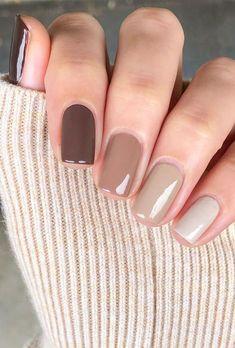 Neutral Nail Color, Fall Nail Colors, Neutral Gel Nails, Nail Gradient, One Color Nails, Neutral Nail Designs, Trendy Nails, Cute Nails, Casual Nails