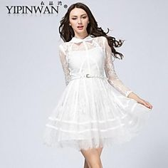 YIPINWAN  Women's Peterpan Led The Embroidery Hook Flower Lace Dress