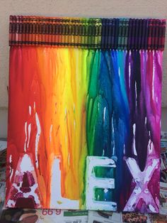 Melting crayon art with stencils