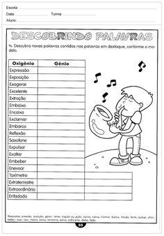 Atividades de português 5 ano do Ensino Fundamental - Para Imprimir Literacy, Bullet Journal, Education, Lp, Camilla, Pasta, Outdoors, Mini, Word Sentences