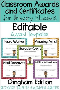 These end of the year awards are perfect to recognize your students for their unique talents and abilities! These awards are EDITABLE and feature a Gingham background. Perfect for Primary Students and Elementary Students in Kindergarten, First Grade, Seco