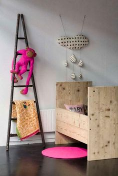 modern baby nursery, reclaimed wood crib; Serendipity Boutique, Paris