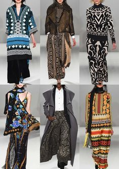 Temperley AW15\16 | Bold Tribal Motifs – Multicoloured Pattern – Nomadic Aesthetic – Bold Floral Embroidery Details – Two Colour Statements – New Tribal Mixes – Folk References