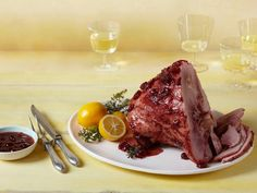 The star of Melissa's Easiest Baked Ham with Cherry Glaze is the sweet and tangy sauce she brushes on top. #RecipeOfTheDay