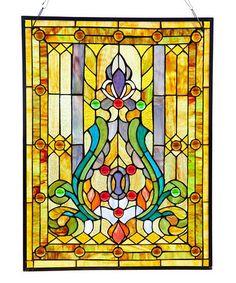 Look at this #zulilyfind! Stained Glass Fleur de Lis Window Panel #zulilyfinds