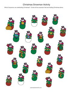 #Christmas #Snowman Activity.  Circle the snowmen that are holding Christmas items.  http://www.kidscanhavefun.com/christmas-activities.htm