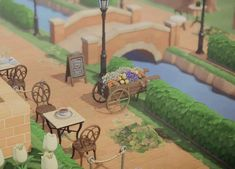 Turned my river into a little cafe area : AnimalCrossing Animal Crossing 3ds, Animal Crossing Wild World, Animal Crossing Villagers, Animal Crossing Qr Codes Clothes, Riverside Cafe, Ac New Leaf, Motifs Animal, Island Design, Animal Games