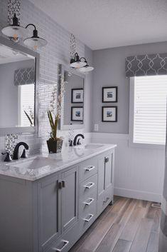 gray tile floor with white vanity bathroom ideas/ love