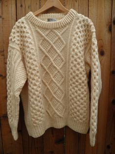 Vintage Aran Handmade Fisherman's Sweater in Ivory Irish Hand Knit by TastyJunk on Etsy
