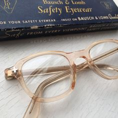 8a1d10890c53 1960 military issued NOS Bausch & Lomb nude peach safety glasses. Rare  color that's