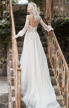 A cold-shoulder bishop sleeve princess wedding dress for A) looking like you stepped out of a Pre-Raphaelite painting, and B) happy-crying with your betrothed. Colored Wedding Dresses, Dream Wedding Dresses, Bridal Dresses, Wedding Gowns, Wedding Bride, Wedding Ideas, Forest Wedding, Boho Wedding, Champagne Gown