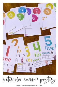 Add these colorful number posters in their gorgeous watercolors to your classroom this back to school season!  Made to match our WATERCOLOR PAINT Classroom Decor, these posters provide the perfect level of support for young learners developing their number sense. Choose from three different designs #rainbowclassroomdecor #watercolorclassroomdecor #numberposters Number Posters, Shape Posters, Education And Literacy, Literacy Centers, Classroom Displays, Classroom Themes, Project Based Learning, Kids Learning, Watercolour Painting