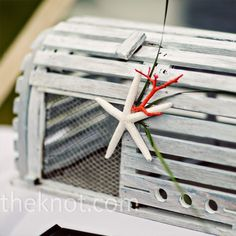 Summer is in the air and we have just the thing for your nautical themed  wedding. Lobster Trap Card Holder. Adorable!  Photo Source: The Knot