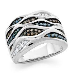 0.50 Carat Blue, Champagne & White Diamond Ring in Sterling Silver #Netaya