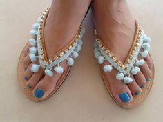 SALES  Leather Summer Sandals  Pom Pom Sandals  by BeSerendipity