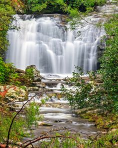 Meigs Falls flows in the beautiful landscape of Great Smoky Mountains National Park in Tennessee.