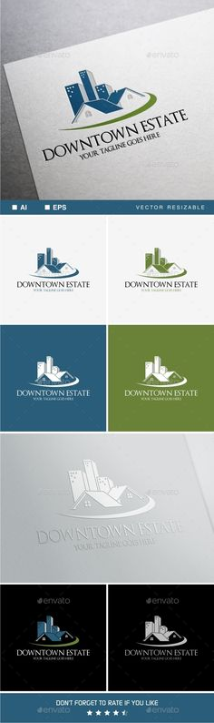 Downtown Estate  Logo Design Template Vector #logotype Download it here:  http://graphicriver.net/item/downtown-estate-logo/10026012?s_rank=855?ref=nexion