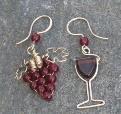 mismatched grape & wine glass earrings