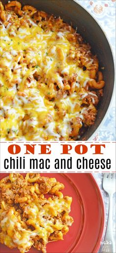 This Easy One Pot Chili Mac and Cheese is ready in 30 minutes and uses just one pot. Easy to make and clean up! Cheesy Recipes, Meat Recipes, Slow Cooker Recipes, Cooking Recipes, Savoury Recipes, Noodle Recipes, Pasta Recipes, Chili Mac And Cheese, Bake Mac And Cheese