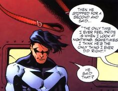 "Dick Grayson!, ""I'm proud of you."" JLA #73"