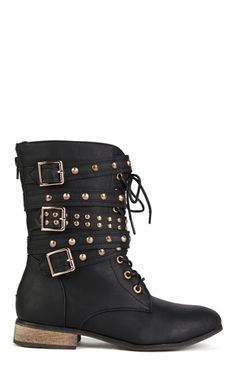 Deb Shops Faux Leather Moto Combat Boot with Studded Straps $32.20