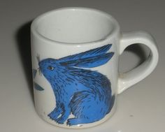 Peppi by Arabia of Finland. $9.95, via Etsy.  My mother had a whole set and each cup has a different animal in blue.