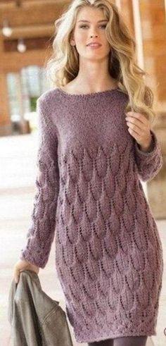 Free and Wonderful Dress and Summer Dress Pattern Ideas Part 43 ; crochet dress for women Long Sweater Dress, Knit Dress, Dress Long, Lace Dress, Knit Fashion, Long Sweaters, Crochet Clothes, Pulls, Dress Patterns