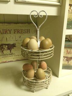 Shabby Chic Cream Scrollled Metal Egg Holder Egg Display Kitchen Egg Storage #MulberryMoon